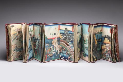 dd21e5145b71 Rare ALBUM comprenant environ 200 ESTAMPES reliées,dont neuf triptyques  Meiji.