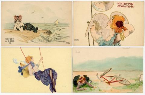 6b72eec5d5a643  ILLUSTRATEUR  33 cartes postales illustrées par Raphaël KIRCHNER. Signées.  Séries.